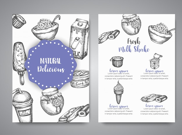 Dairy sweet cards collection hand drawn vector illustration