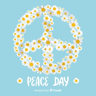 Daisies floral peace sign background
