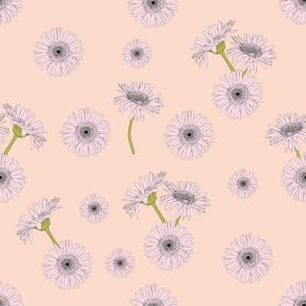 ベージュの背景にデイジーの花の花柄のデザイン