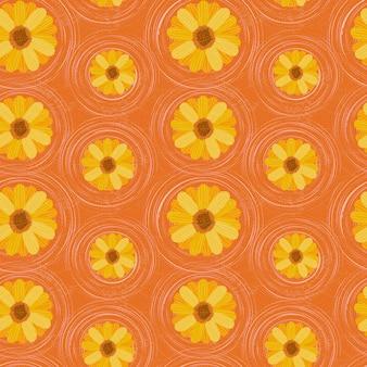 オレンジ色の背景にデイジーの花のシームレスな花柄