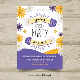 데이지 봄 파티 포스터 무료 벡터