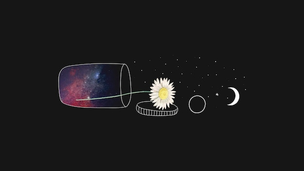 Daisy in a container and moon minimal drawing background