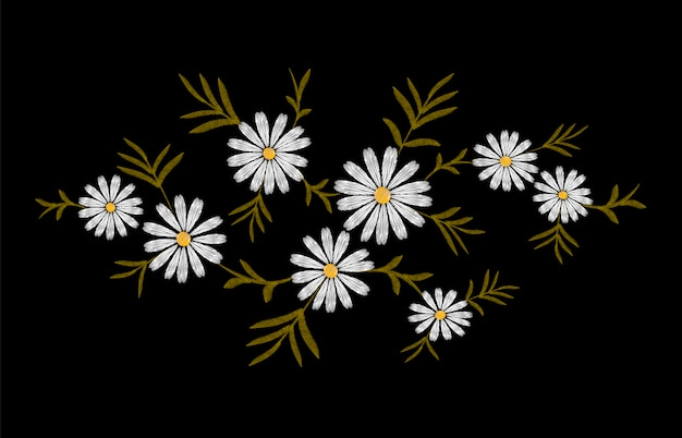 Daisy embroidery print texture flower arrangement leaves
