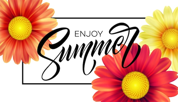 Фон цветок ромашки и летние надписи.