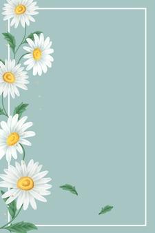 Daisy flower frame on light green background