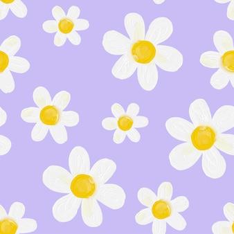 Daisy flower lilac background seamless pattern