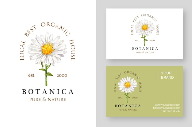 Daisy flower logo design template and business card