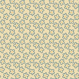 노란색 배경 그림에 데이지 꽃 원활한 패턴 예쁜 만화 꽃 패턴