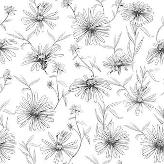 デイジーフラワー。シームレスなパターン。ベクトルスケッチイラスト。生地のデザイン。