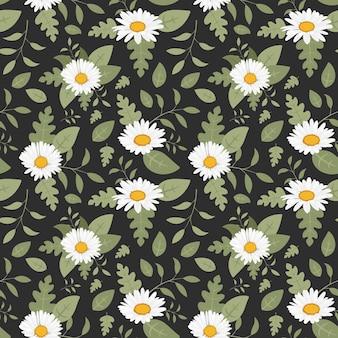 葉のシームレスなパターンとデイジーの花