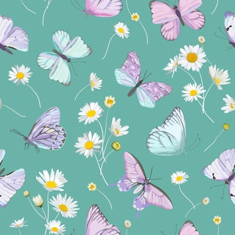 Daisy flowers and butterfly vector background. seamless spring floral watercolor pattern. summer beautiful textile, rustic wallpaper, camomile illustration, garden fabric, wrapping paper design