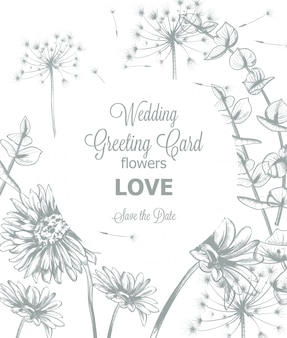 Daisy flowers line art wedding card invitation template