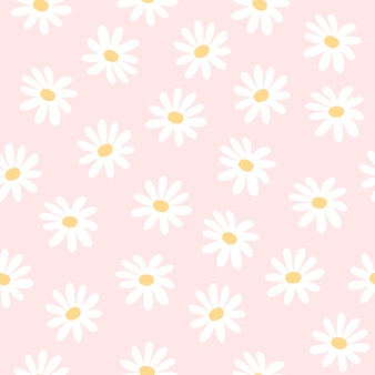Daisy flowers seamless pattern background