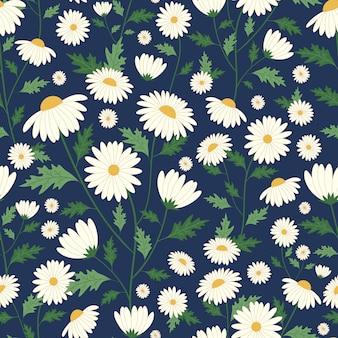 Daisy flowers seamless pattern