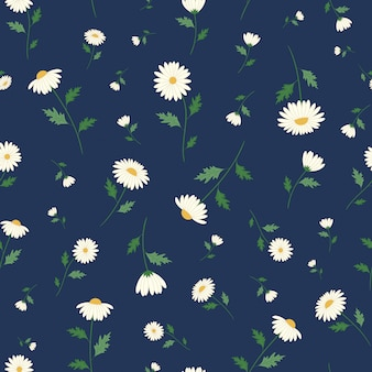Daisy flowers seamless pattern