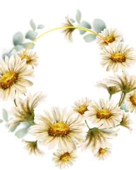 Daisy flowers wedding wreath watercolor