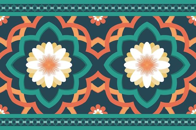 緑オレンジ色のデイジーモロッコの民族幾何学的な花のタイルアートオリエンタルシームレスな伝統的なパターン。背景、カーペット、壁紙の背景、衣類、ラッピング、バティック、ファブリックのデザイン。ベクター。