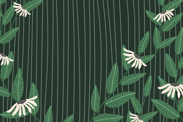 Daisy patterned vector background frame in green