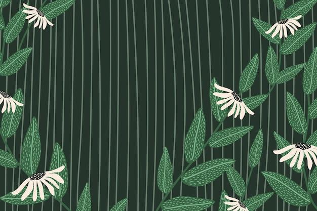 녹색에서 데이지 무늬 벡터 배경 프레임