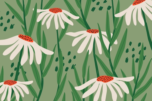 Daisy patterned vector background in green