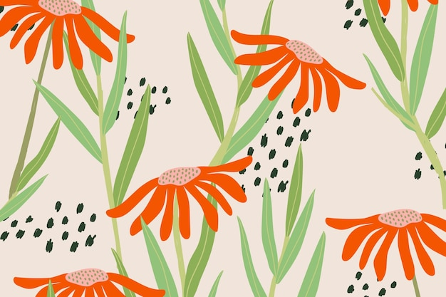 Daisy patterned vector pink background in retro style