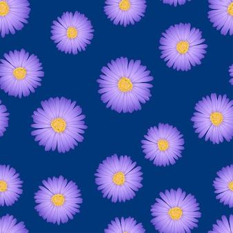 Daisy seamless on indigo blue background.