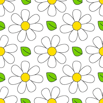 Daisy seamless pattern. floral retro style simple motif.