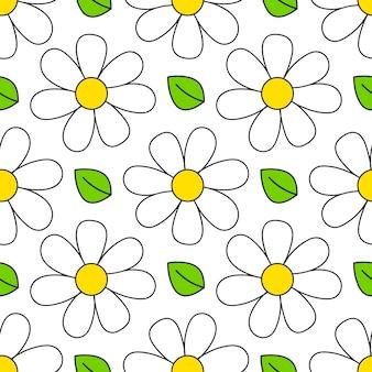 デイジーのシームレスなパターン。花のレトロなスタイルのシンプルなモチーフ。