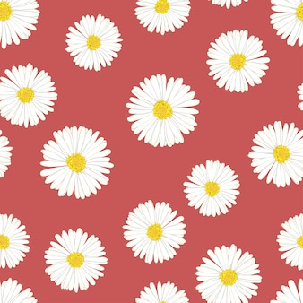 Daisy seamless on red background