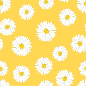 Daisy seamless on yellow background