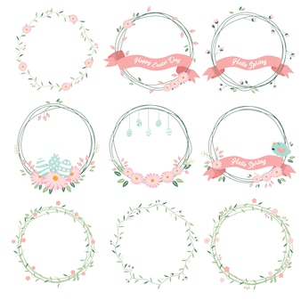 Daisy spring and easter flower wreath collection