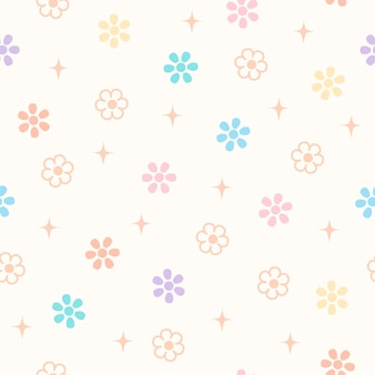 Daisy spring flowers on pastel background design to seamless pattern.