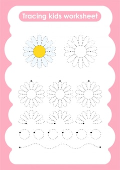 Daisy - trace lines writting and drawing practice worksheet for kids