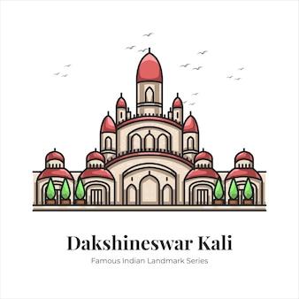 Dakshineswar kali 인도 유명한 상징적인 랜드마크 만화 라인 아트 그림