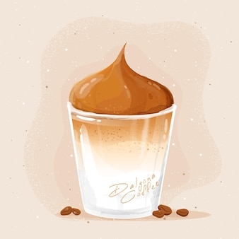 Dalgona coffee in glass illustration