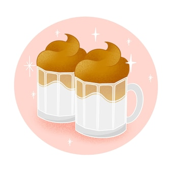 Dalgona coffee illustration concept