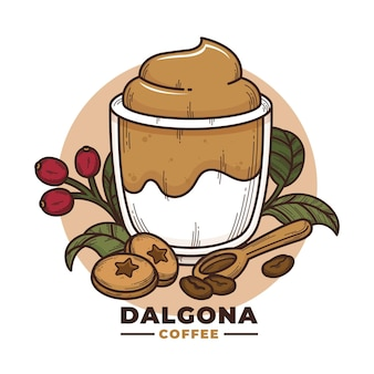 Dalgona coffee illustration concept