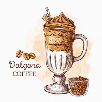 Concetto dell'illustrazione del caffè di dalgona