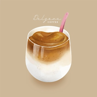 Dalgona coffee illustration design