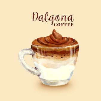Dalgona coffee illustration in small cup