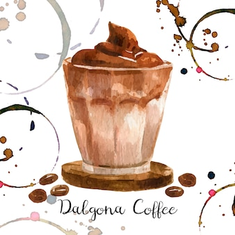 Dalgona coffee illustration in watercolor