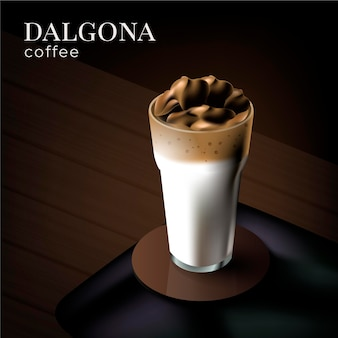 Dalgona coffee illustration with glass