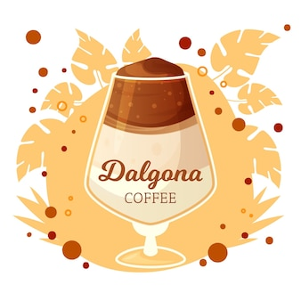 Dalgona coffee illustration with glass