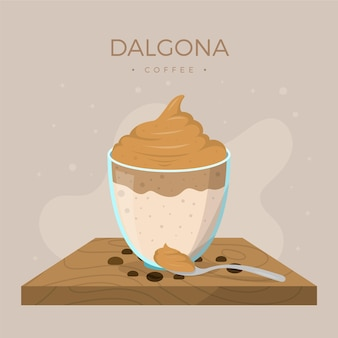 Dalgona coffee illustration