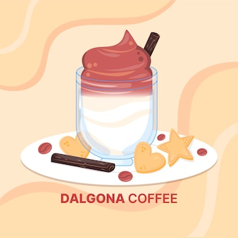 Dalgona coffee illustration