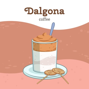 Dalgona coffee иллюстрация тема
