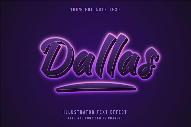 Dallas,3d editable text effect purple gradation neon text effect