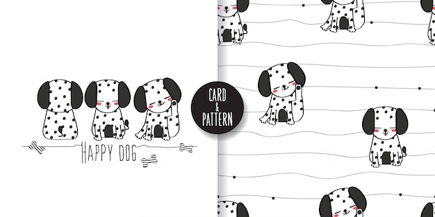 ダルメシアン犬ペットのシームレスなパターンとイラスト