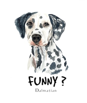 Dalmatian dog watercolor for printing.