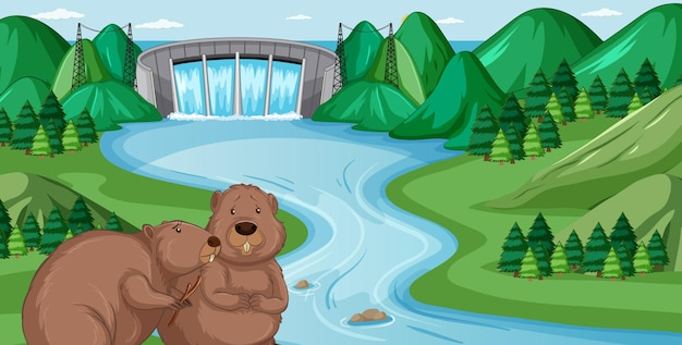 Dam landscape with beaver family